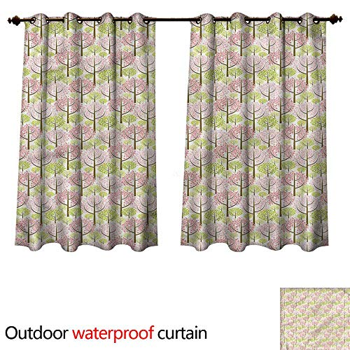cobeDecor Tree Outdoor Curtain for Patio Japanese Cherry Blooms W72 x L72(183cm x 183cm) -