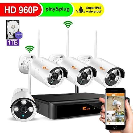 CORSEE Kit Camaras Vigilancia WiFi,8 Canales Inalámbrico De Videovigilancia CCTV 4 Piezas 960P Cámaras