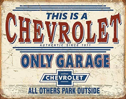 "Desperate Enterprises Chevrolet Only Garage Tin Sign, 16"" W x 12.5"" H"