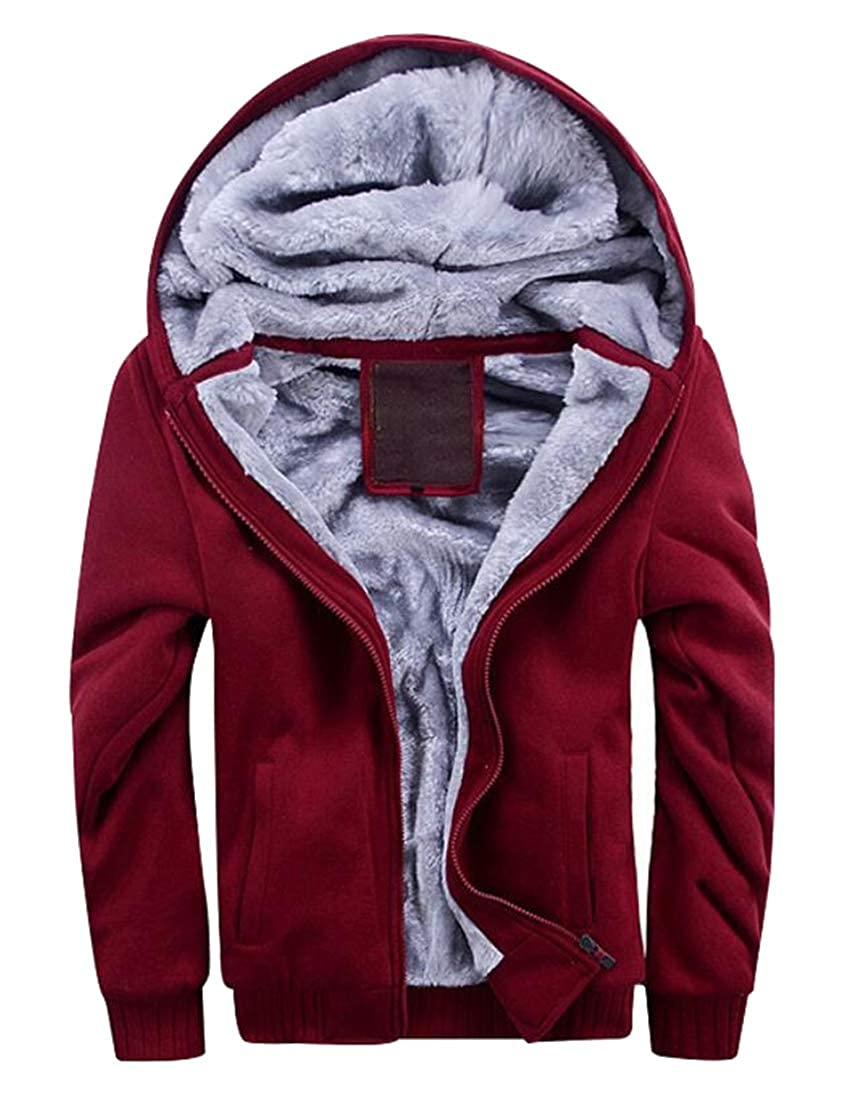 WAWAYA Mens Long Sleeve Casual Faux Fur Lined Thicken Zipper Hooded Sweatshirt Coat