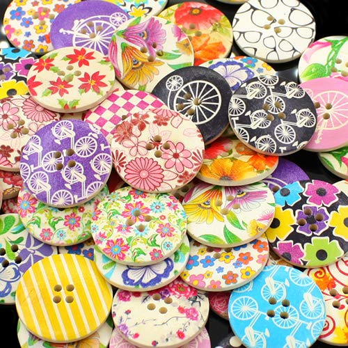 Multi Color Glass Buttons - ruiycltd 25Pcs 30mm 4 Holes Multicolor Wooden Buttons for Scrapbooking Sewing DIY Beads Unicycle Flower Bike Checked Glasses Shape