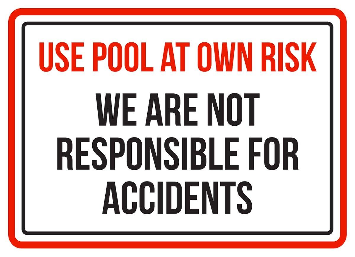 alluminio /19,1/x 26,7/cm iCandy Products Inc Uso piscina a proprio rischio 7.5 x 10.5 Inch non siamo responsabili per incidenti spa attenzione Small Sign/