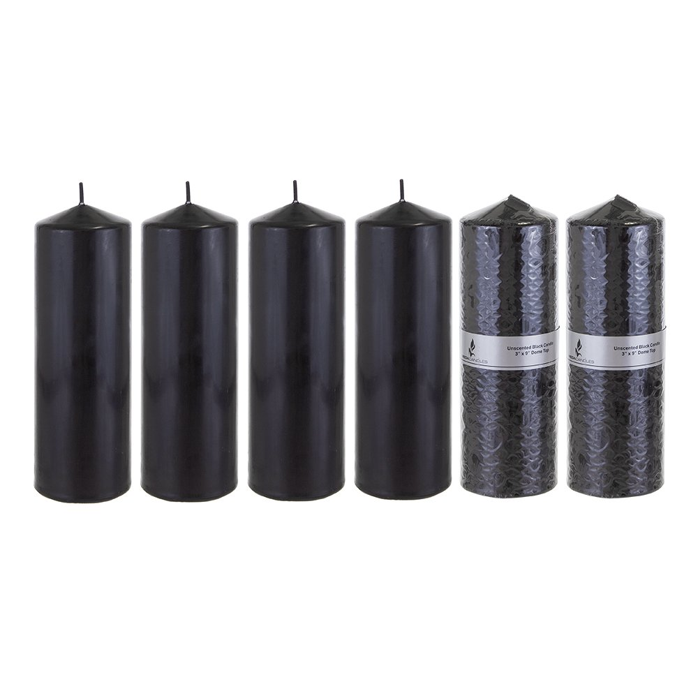 Mega Candles - Unscented 3'' x 9'' Round Pillar Candle - Black, Set of 6