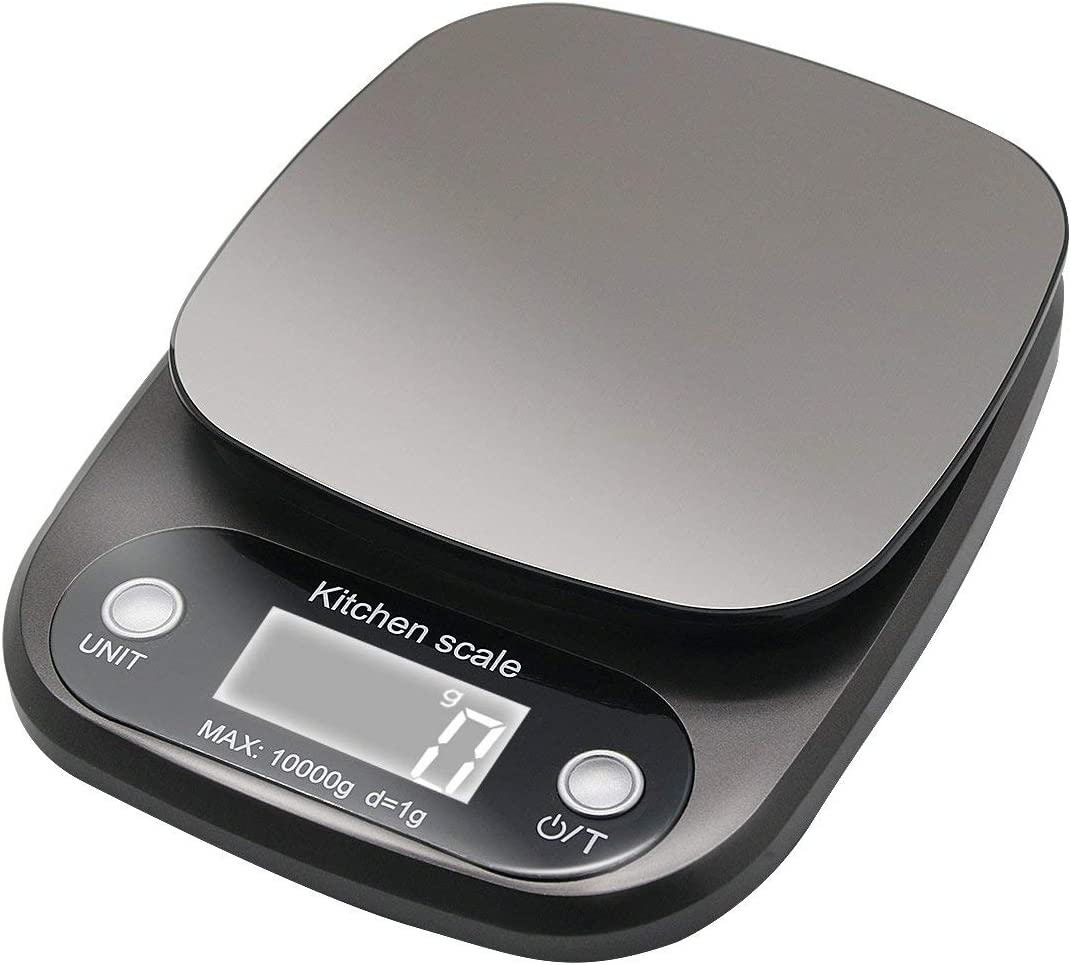 Digital Kitchen ScaleStainless Steel Food Scale 22 lb 10kg Max with Led Display and Tare Function Kitchen Weight Scale Black (Batteries Included)