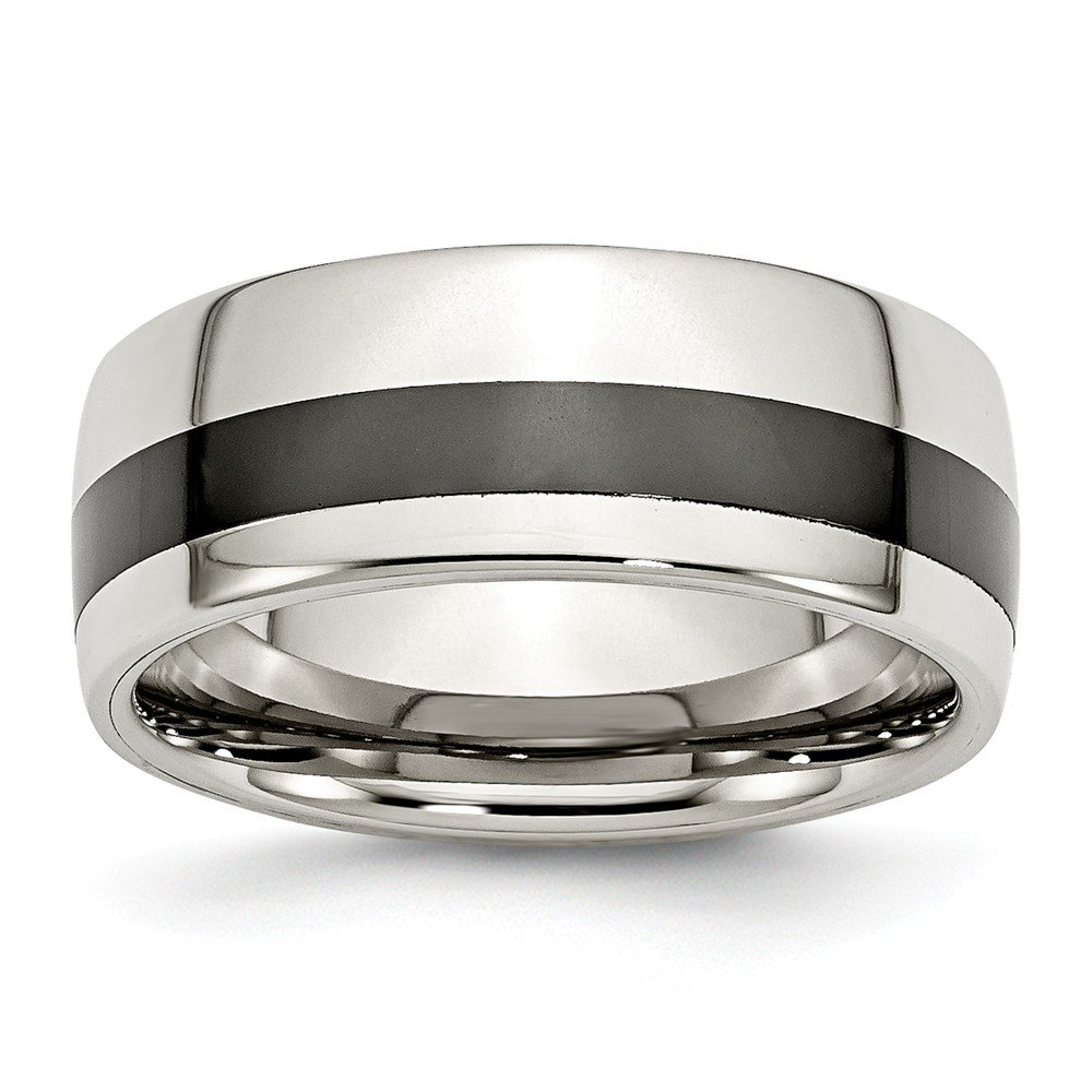 Mens Stainless Steel Polished Black Ceramic Inlay Wedding Band Ring