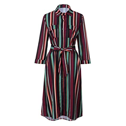 9c95db983 Women Three Quarter Sleeve Multicolor Stripe Printed Loose Belt Pocket  Button Dress (S