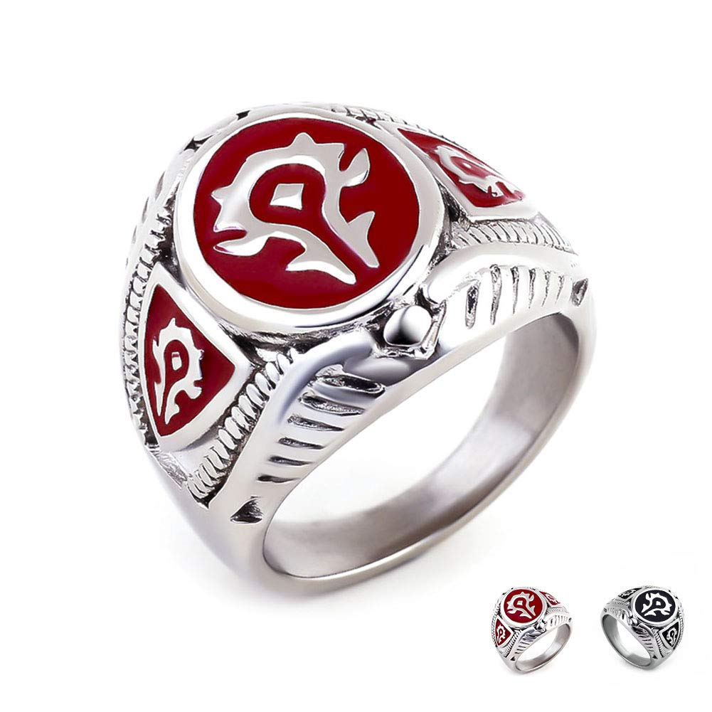 Excow Jewelry Wow World of Warcraft Horde Badge Ring Stainless Steel Gamer Band JZ-045