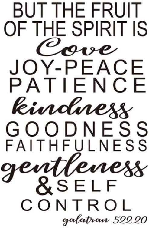 Garneck Wall Decal Quote Christian Bible Verse Removable Vinyl DIY The Fruit of Spirit is Love Wall Decals Wall Stickers 1pc