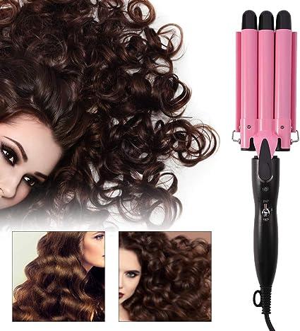 Rizador de pelo con tres tubos, rizador, plancha con revestimiento ...