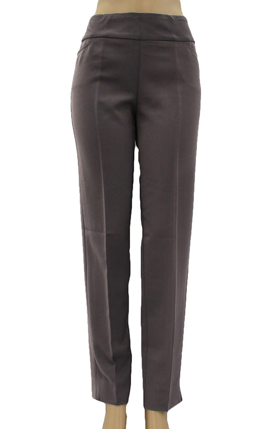 Multiples Women's Graphite Techno Long Twill Solid Pants