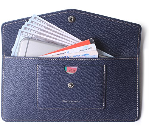 Women's Wallet Leather RFID Ultra-thin Envelope Ladies Purse Travel Clutch (Crosshatch Blue) by Borgasets