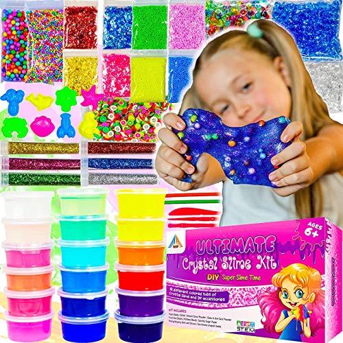OzBSP-Crystal-Slime-Kit-Slime-Supplies-DIY-Slime-Making-Kit-for-Girls-Boys-Kids-18-Tubs-Crystal-Slime-37-Accessories-Glitter-Snow-Powder-Foam-Beads-Fruit-Slices-Fishbowl-Beads-Boy-Girl-Toys