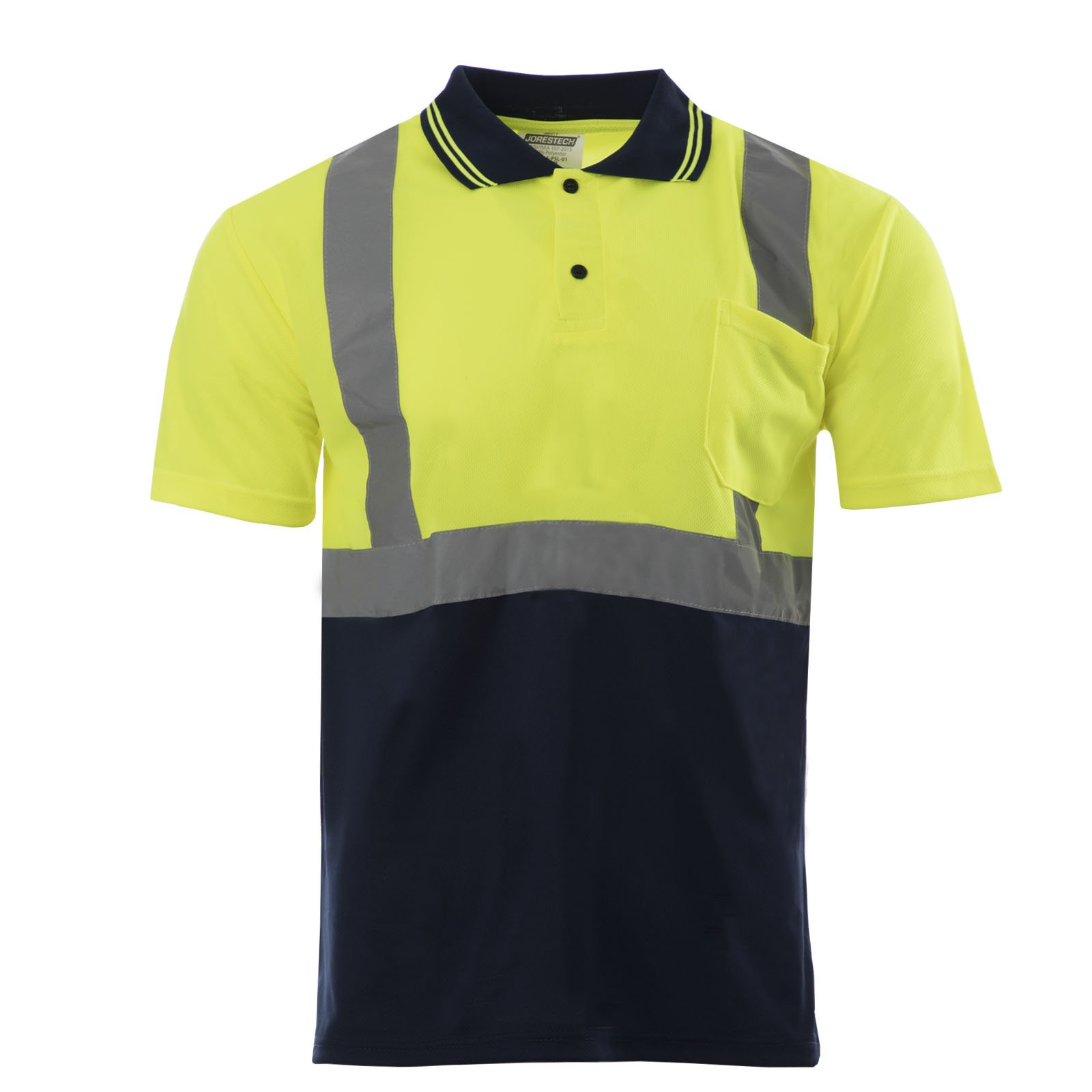JORESTECH Safety short sleeve Polo shirt (Lime/Dark Blue)