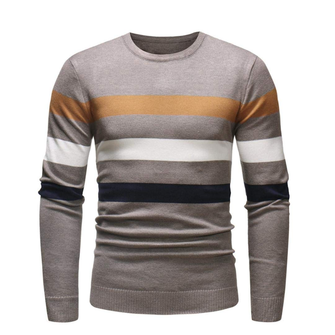 Corriee Fashion Tops for Men 2018 Casual Slim Fitted Strip Knitwear Outwear Autumn Winter Warm O Neck Sweater Pullover by Corriee Men Tops