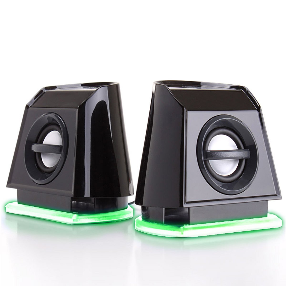 GOgroove 2MX LED Computer Speakers with Powered Subwoofer, Green Glowing Lights and Stereo Sound - Wired 3.5mm Audio Input Connection, USB Powered for PC, Desktop and Laptop Computers