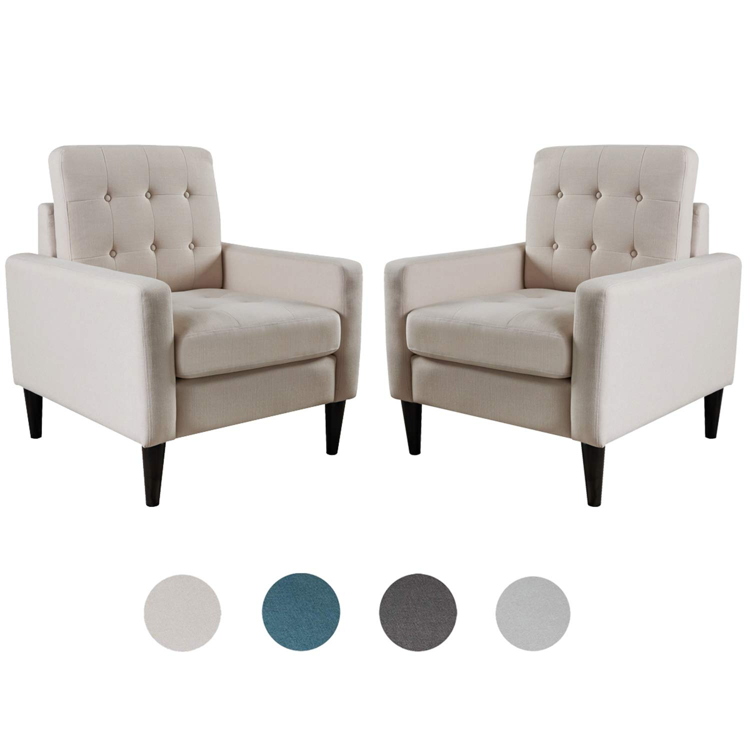 Top Space Accent Chair Living Room Chairs Arm Chair Single Sofa Upholstered Gray Comfy Fabric Mid-Century Modern Furniture for Bedroom Office (2PCS-1, White) by Top Space