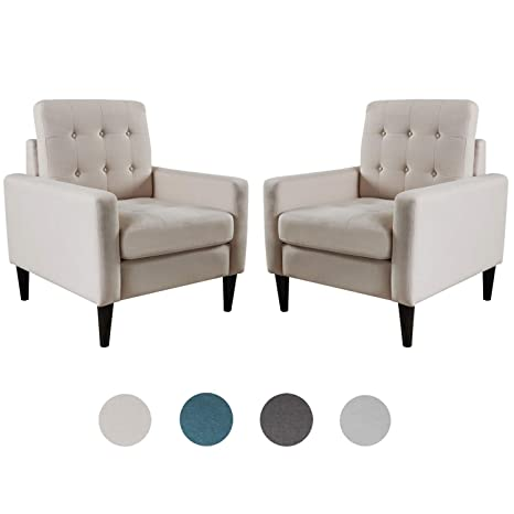 Awe Inspiring Top Space Accent Chair Living Room Chairs Arm Chair Single Sofa Upholstered Gray Comfy Fabric Mid Century Modern Furniture For Bedroom Office 2Pcs 1 Bralicious Painted Fabric Chair Ideas Braliciousco