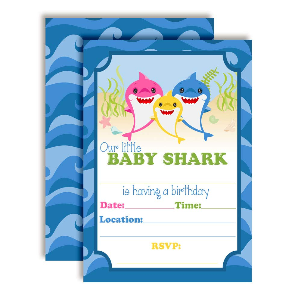 "Baby Shark Themed Birthday Party Invitations, 20 5""x7"" Fill in Cards with Twenty White Envelopes by AmandaCreation"