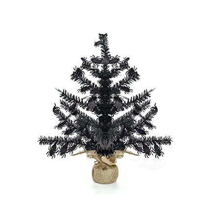 Amazon Com Yuqi 2 Foot Black Tinsel Halloween Tree Small Tabletop