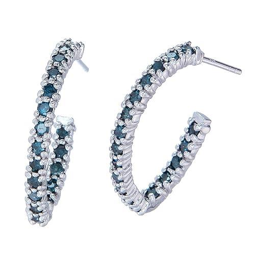 Sterling Silver Blue Diamond Hoop Earrings 1 cttw