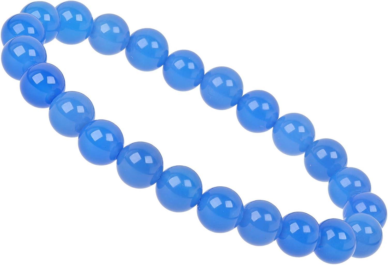 ELEDORO PowerBead - Pulsera elástica para Mujer, Perlas de Piedras Preciosas, 8 mm, 17-18 cm, ágata Azul