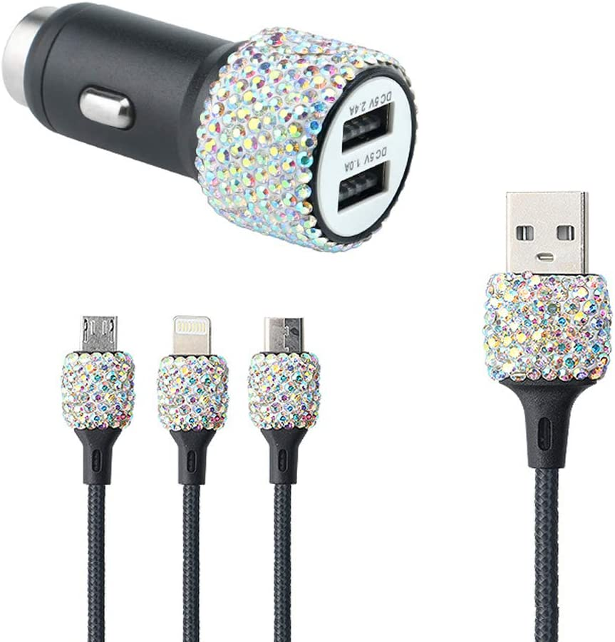 SUNACCL Bling Dual USB Car Charge Multicolor Crystal 5V/2.1A Fast Car Adapter with 3.9ft Nylon Type C/Micro USB 3-in-1 Multi Charger Cable for iPhone Android, Car Interior Decor
