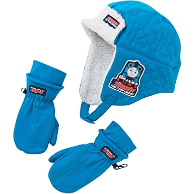 db19dc0ef99df Thomas   Friends Boys Fleece Lined Winter Trapper Hat and Mitts Set - Blue  - 2
