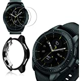 [2+1 Pack] Compatible Samsung Galaxy Watch 42mm Case Cover with Screen Protector, Soft TPU Plated Protective Bumper Shell + T