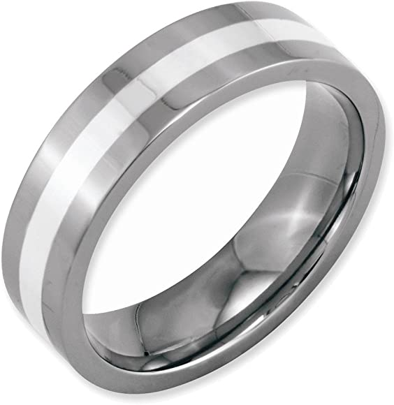 Perfect Jewelry Gift Titanium Sterling Silver Inlay Flat 6mm Polished Band