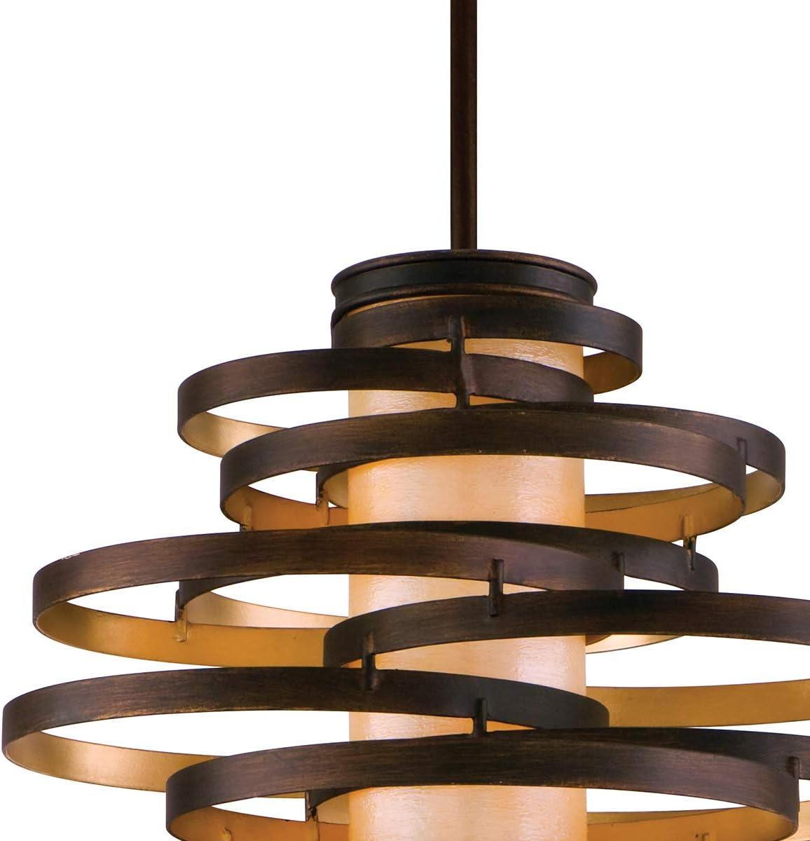 Vertigo Pendant – 23 – Bronze with Gold Leaf Finish with Caramel Ice Diffuser