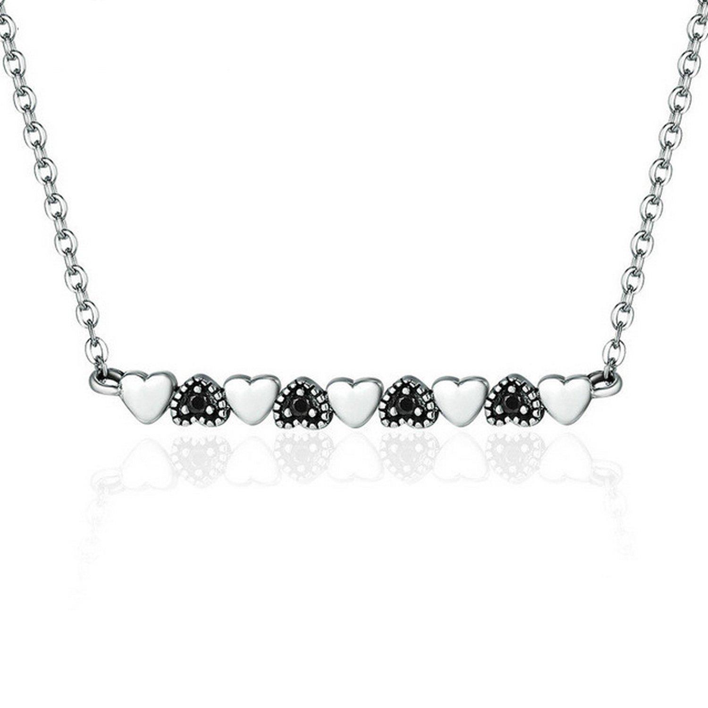 CS-DB Jewelry Silver Rose Charm Pendants Necklaces Necklace Clear CZ Chain Charm Pendants Necklaces