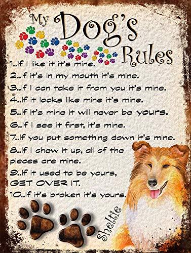 My Dog's Rules 金属板ブリキ看板注意サイン情報サイン金属安全サイン警告サイン表示パネル