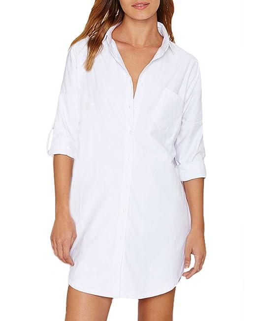 Auxo Vestidos Mujer Fiestas Camisetas Blusas Rayas Manga Larga Blancas Algodón Pullover Casual Camisas T Shirt