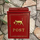 HZBc European Style Letter Box Residential Villa Exterior Wall Hanging Waterproof Letter Box,Wall Decoration,Red