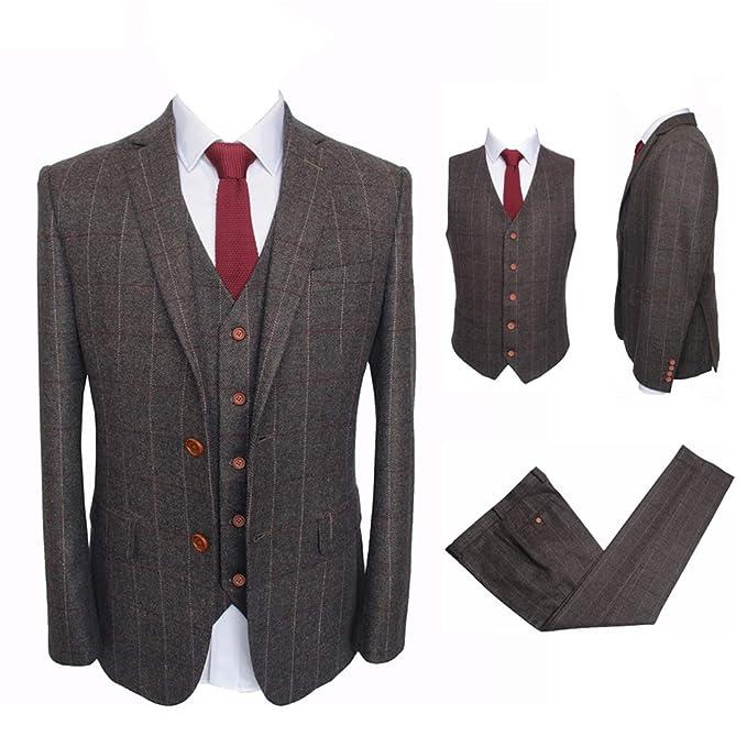 Amazon.com: Vintage, traje de lana para hombre de 3 piezas ...
