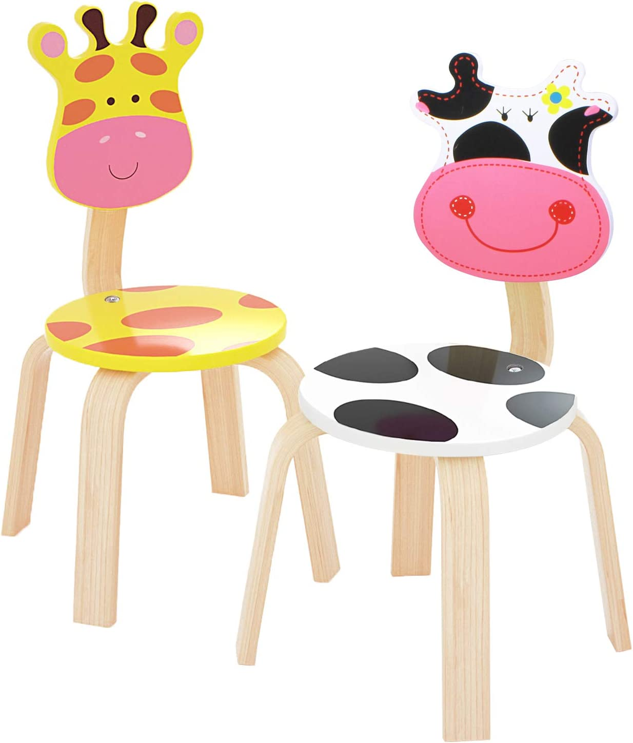 iPlay, iLearn 2 PCS Wooden Kids Chair Sets, Natural Hardwood Giraffe & Cow Animal Children Chairs, Furniture Set for Toddlers Kids Boys Girls, Stackable for Playroom, Nursery, Preschool, Kindergarten