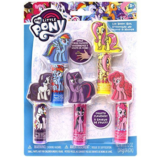 Townley Girl My Little Pony Lip Balm, 5 Flavored Glosses with 5 Character Finger Puppets