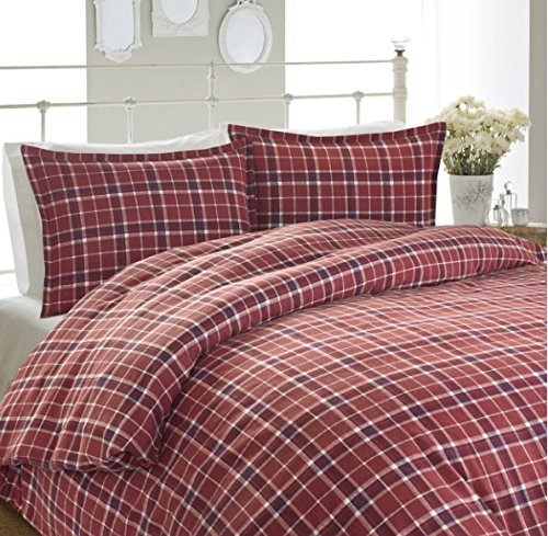 3 Piece Red White Madras Plaid Duvet Cover King Set, All Over Multi Checkered Bedding, Tartan Tattersall Check Patchwork Lodge Cabin Themed, Reversible Solid Country Woven Pattern, Dark Burgundy
