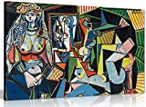 Pablo Picasso Painting Les Femmes D'Alger Canvas Wall Art Picture Print decor ready to hang in your home, office or even bedroom. Panther Print Canvas prints are of high quality and come framed on a 18MM Pine wood lightweight frame with the canvas st...