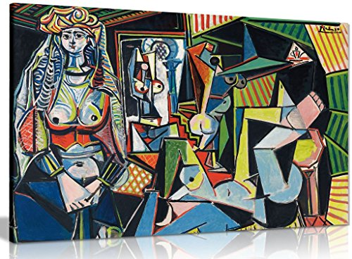 Pablo Picasso Painting Les Femmes D'Alger Canvas Wall Art Picture Print (36x24in)