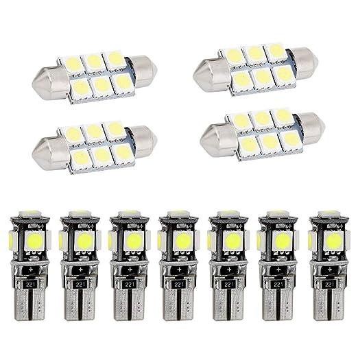 Muchkey luz de interior coche Para A5 S5 Auto Dome Bombilla Kit Blanco 11pcs: Amazon.es: Coche y moto