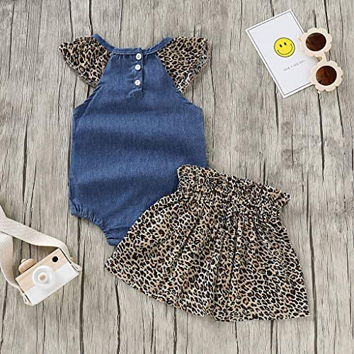 Jimmackey Neonata Bambine Falbala Tutine Denim Pagliaccetto + Stampa Leopardo Gonne Estate Vestiti Set