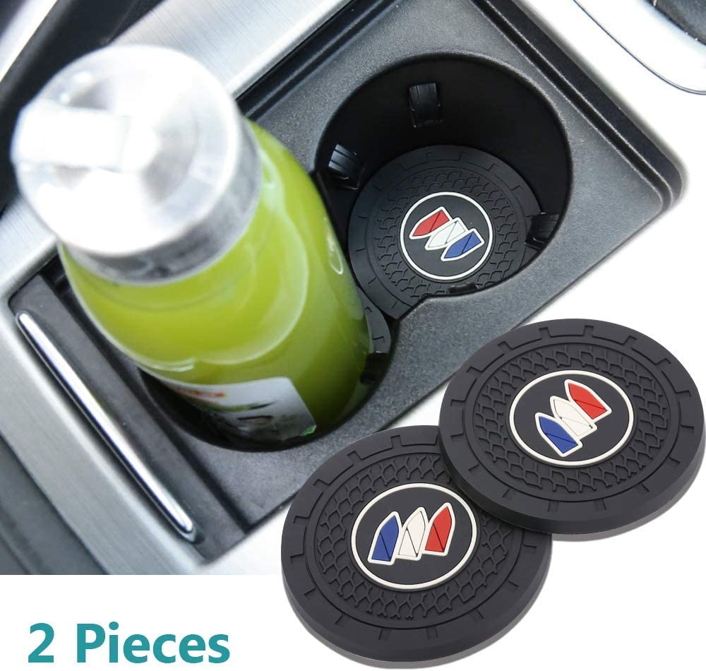 Auto sport 2.75 Inch Diameter Oval Tough Car Logo Vehicle Travel Auto Cup Holder Insert Coaster Can 2 Pcs Pack (Buick)