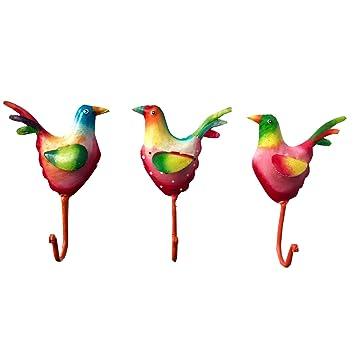 Exner Set de 3 Ganchos de Pared pájaro Hecho de Metal ...