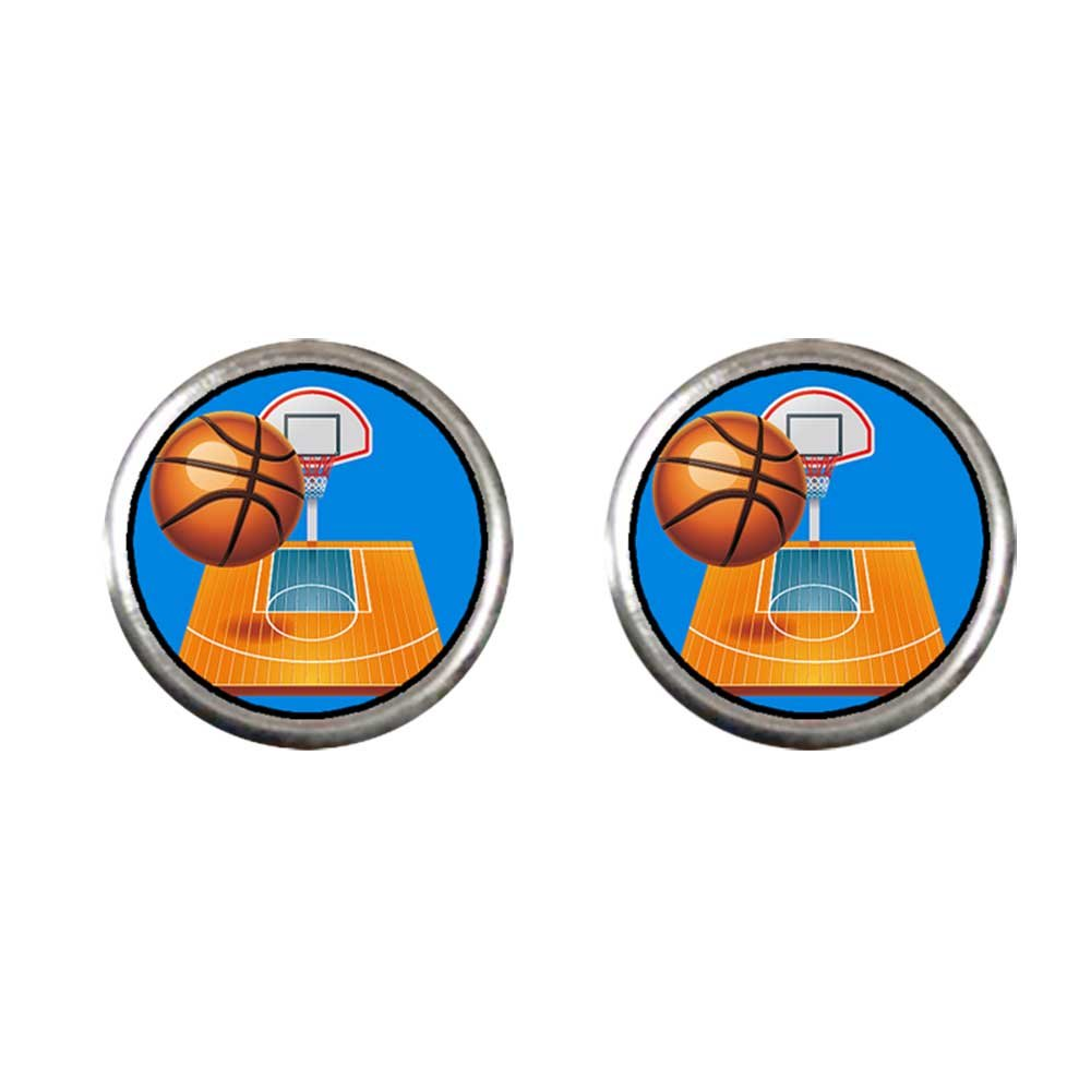 GiftJewelryShop Silver Plated Olympics basketball and hoop Photo Stud Earrings 10mm Diameter
