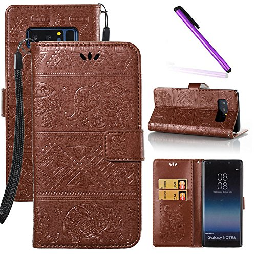- Galaxy Note 8 Case LEECOCO Unique Embossed Wallet Case with Card/Cash Holder Slots Wrist Strap [Kickstand] Premium PU Leather Folio Flip Case Cover for Samsung Galaxy Note 8 Elephant Brown