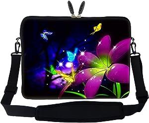 Meffort Inc 15 15.6 inch Neoprene Laptop Sleeve Bag Carrying Case with Hidden Handle and Adjustable Shoulder Strap - Blue Purple Flower Butterfly
