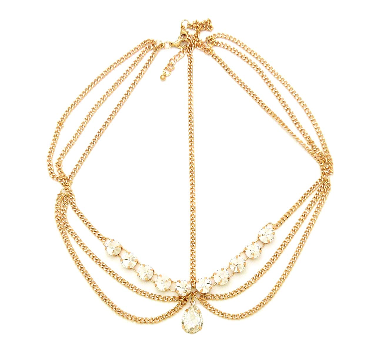 Gold Tone Womens Tear Drop Rhinestone Accent Head Chain Jewelry by Fashion 21
