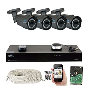8 Channel H.265 NVR 4 x 4 M Pixel 2.8~12mm Lens IP Security Camera 4T HD