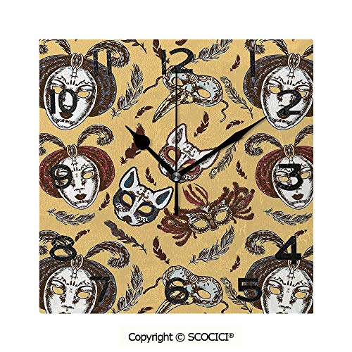 SCOCICI Square Wall Clock Venetian Style Paper Mache Face Mask with Feathers Dance Event Theme 8 inch Morden Wall Clocks Silent Square Decorative Clock